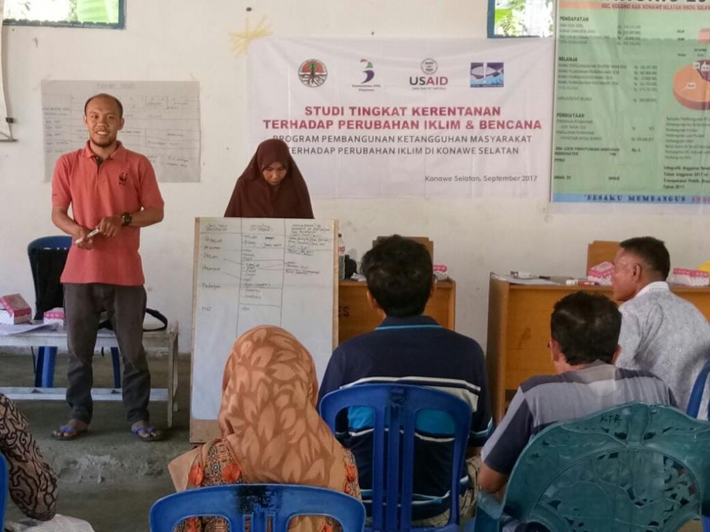 Pertemuan masyarakat dalam rangka studi tingkat kerentanan terhadap perubahan iklim dan bencana (DFW-Indonesia)